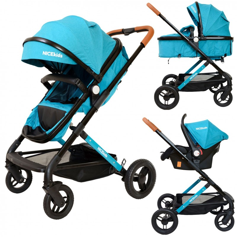 Wózek wielofunkcyjny NICEkids dla dzieci lekki 3w1 spacerówka + gondola seledynowo czarny