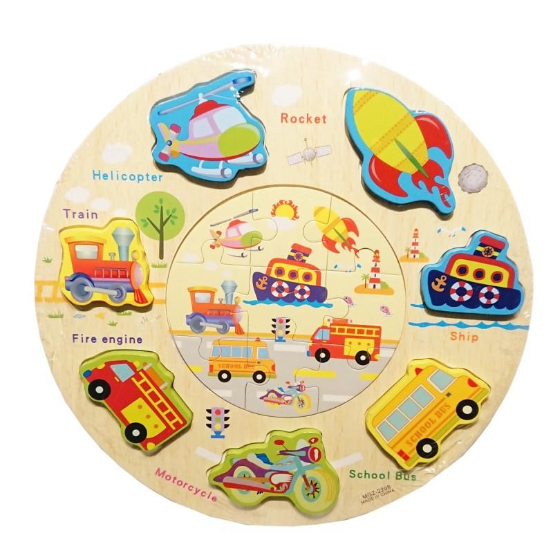 Puzzle kształty okrągłe pojazdy