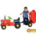 Czerwony traktor na pedały dla dzieci z przyczepką i kaskiem