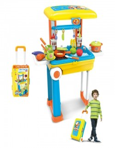 Kuchnia dla dzieci na kółkach z akcesoriami 2w1 walizka żółta